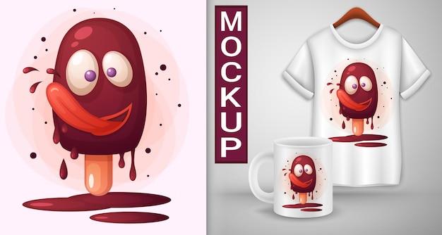 Chocolade ijslolly likt zijn lippen. illustratie