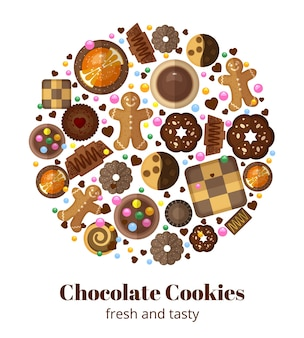 Chocolade kerstkoekjes in ronde vorm