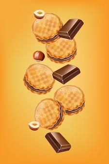 Chocolade koekjes illustratie