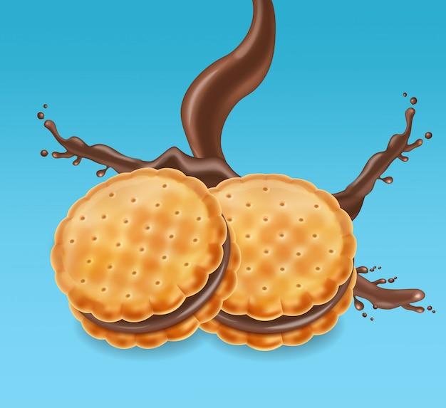 Chocolade koekjes pakket mock up