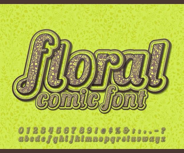 Chocolade lettertype met bloemmotief