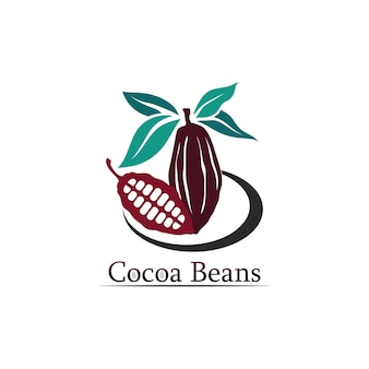 Chocolade logo en cacao icoon en vector design noot en noot heerlijk