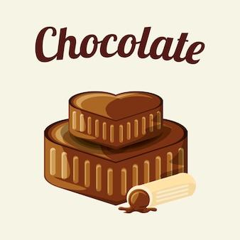 Chocolade met chocolade harten en truffel pictogram op witte achtergrond