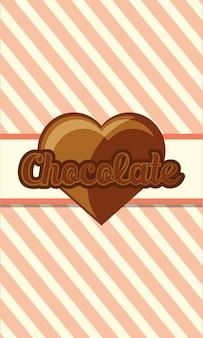 Chocolade met hart van chocolade pictogram