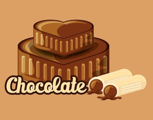Chocolade met harten van chocolade en truffels over oranje achtergrond