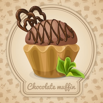 Chocolade muffin illustratie