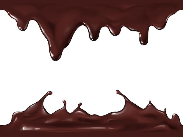 Chocolade naadloze illustratie van realistische 3d-splash en stroom druppels van donker of melkchocolade