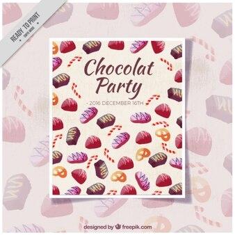 Chocolade partij aquarel uitnodiging