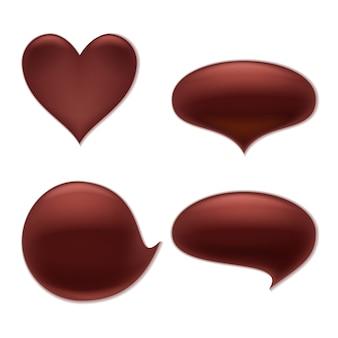 Chocolade smelten vlek splash vlek set. hart en ronde abstracte vormen vormen.