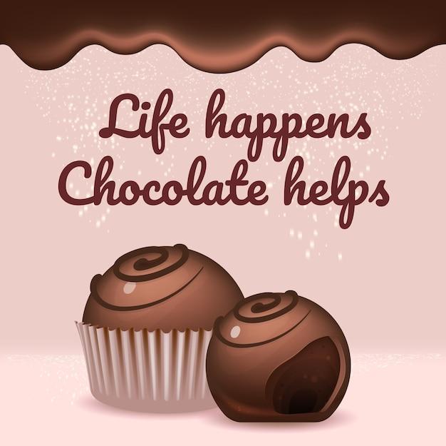 Chocolade snoepjes realistische product social media postsjabloon. geglazuurde desserts 3d-advertenties mockupontwerp met tekst. het leven gebeurt, chocolade helpt de lay-out van de vierkante webbanner