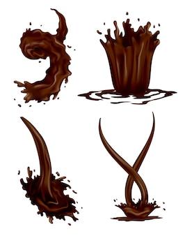 Chocolade spatten set van realistische druppels en swirl stromen op witte achtergrond. vector vloeibare cacao
