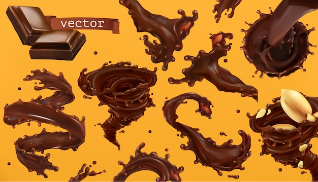 Chocolade splash. 3d-realistische icon set