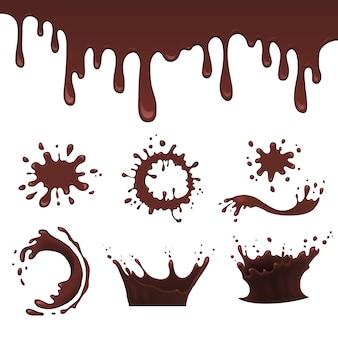 Chocolade splash set, vectorillustratie