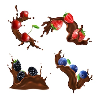 Chocolade splash swirl en drop realistische set met bessen geïsoleerd