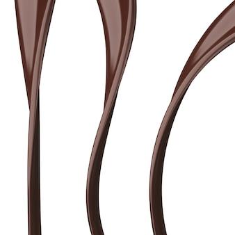 Chocolade streams geïsoleerd op een witte