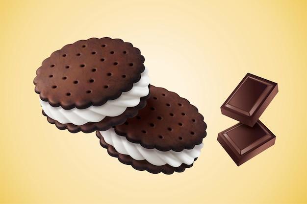Chocolade vanille sandwich koekje met ingrediënten in 3d illustratie