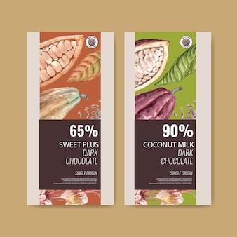 Chocolade verpakking met ingrediënten tak cacao, aquarel illustratie