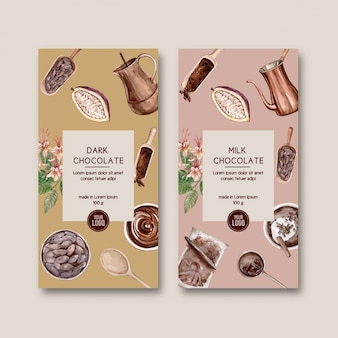 Chocolade verpakking met ingrediënten tak cacao, watercol