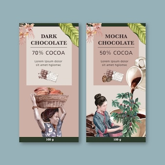 Chocolade verpakking met vrouw oogsten ingrediënten cacao, aquarel illustratie