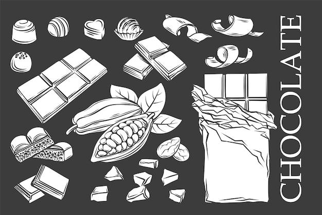 Chocolade zwart-wit glyph iconen set, wit op zwart. silhouet snoep, cacaobonen, chips en chocoladereep voor zoetwaren winkel. vector illustratie.