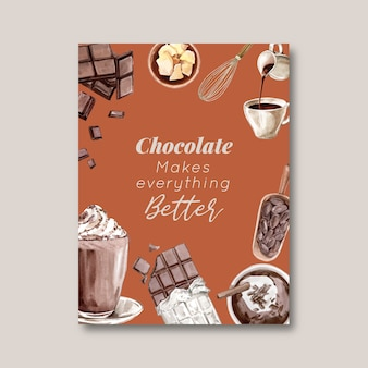 Chocoladeaffiche met ingrediënten die chocoladereep brak, waterverfillustratie