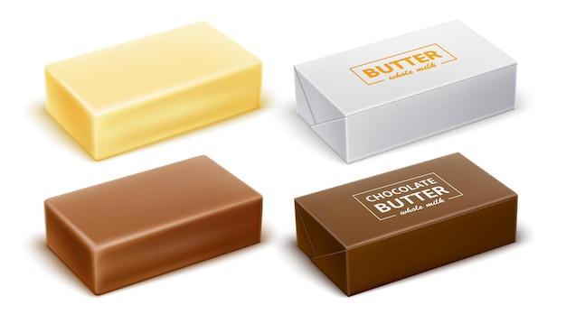Chocoladeboter verpakkingsontwerp voor zuivelproducten met margarinespread realistische vector
