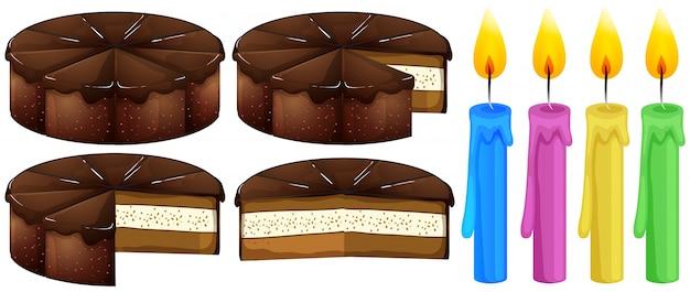 Chocoladecake en kaarsen