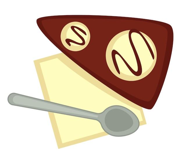 Chocoladedessert met bolletjes ijs, geïsoleerde snoepjes geserveerd op bord met lepel. lekker koekje of cake in café of restaurant. snack voor bij de thee of koffie. menukaart in eetgelegenheid. vector in vlakke stijl