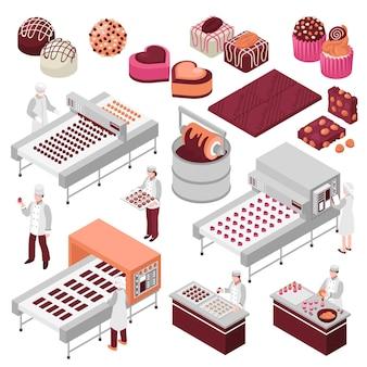 Chocoladefabricage isometrische set van zoete voedselproductie geautomatiseerde fabriekslijnen en personeel dat snoepjes maakt
