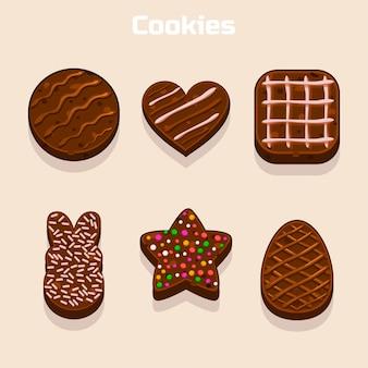 Chocoladekoekjes in verschillende geplaatste vormen