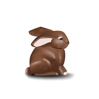 Chocoladekonijntje op witte achtergrond wordt geïsoleerd die