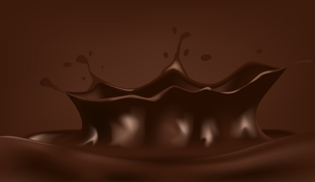Chocolademelk drop met kleine spetterende golf