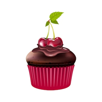 Chocolademuffin met kersen realistische afbeelding gebakken dessert cupcake met bessen en cacaoglazuur zelfgemaakte gebak meel confectie d geïsoleerde object op witte achtergrond
