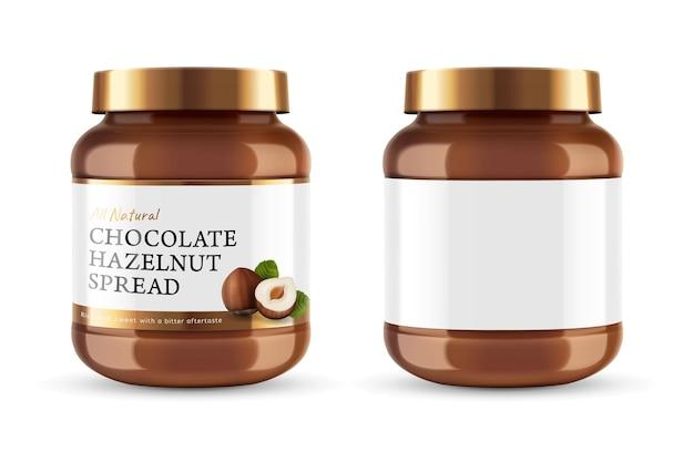 Chocoladepasta kan pot met labelontwerp in 3d illustratie Premium Vector
