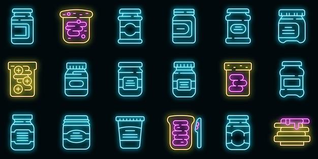 Chocoladepasta pictogrammen instellen. overzicht set van chocoladepasta vector iconen neon kleur op zwart
