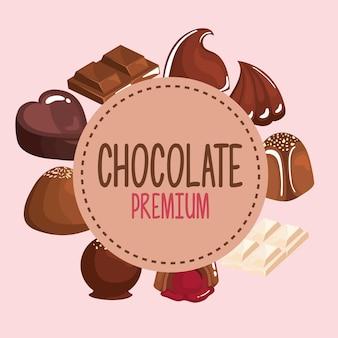 Chocoladeproducten in cirkelvormig frame