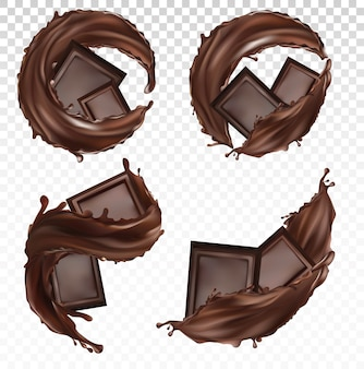 Chocoladereep, cacaoboter, gebakjessnoepjes met spatten en wervelende chocoladevloeistof. realistisch. stukjes chocolade op transparante achtergrond