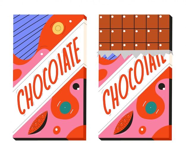 Chocoladereep cartoon illustratie geïsoleerd op een witte achtergrond.