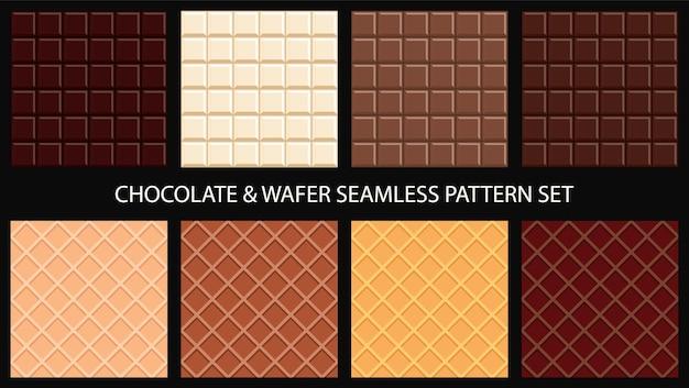 Chocoladereep en wafel naadloze patroon set