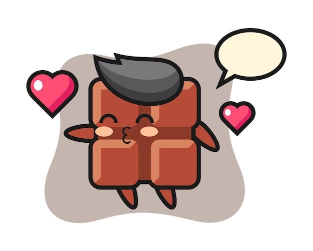 Chocoladereep karakter cartoon met kussen gebaar, schattige kawaii stijl.
