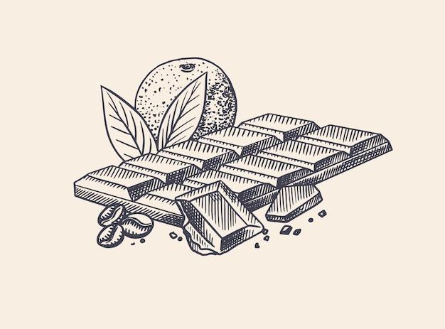 Chocoladereep met sinaasappel en koffiebonen. gegraveerde hand getekende vintage schets. houtsnede stijl.