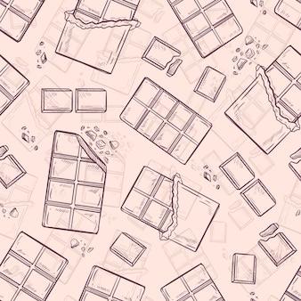 Chocoladereep naadloze patroon achtergrond vector wallpaper
