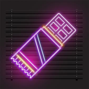 Chocoladereep neon vector ontwerp.