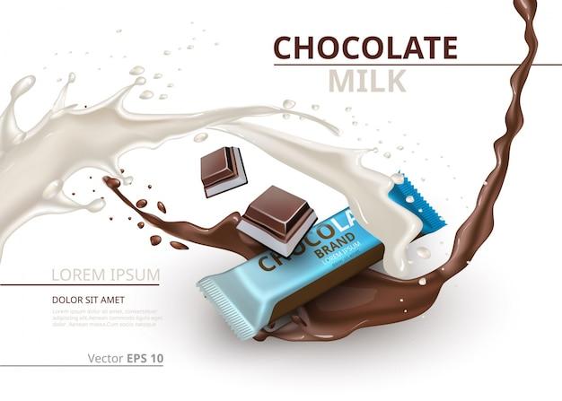 Chocoladereepje met melkrealistische mock up vector labelontwerp. splash en chocolade druppels achtergrond