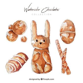 Chocoladerepen en bonbonsinzameling in waterverfstijl