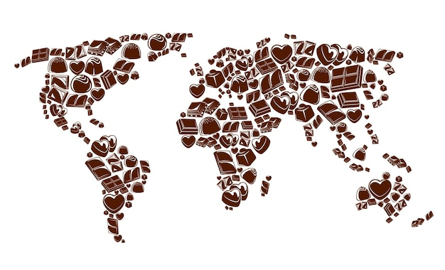 Chocoladerepen en snoepjes wereldkaart vector ontwerp van zoet voedsel. pure chocolade, bittere cacao- en cacaodesserts, vierkante repen, praliné-, nougat- en truffelsnoepjes in de vorm van continenten