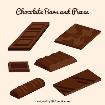 Chocoladerepen inzameling met melk