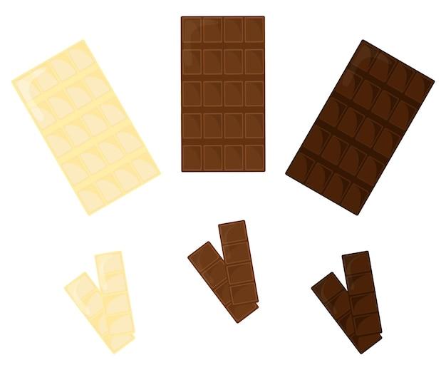 Chocoladerepen set geïsoleerd op een witte achtergrond. collectie witte, melk en donkere chocoladestukjes. vector illustratie.