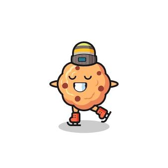 Chocoladeschilferkoekjescartoon als een schaatser die optreedt, schattig stijlontwerp voor t-shirt, sticker, logo-element