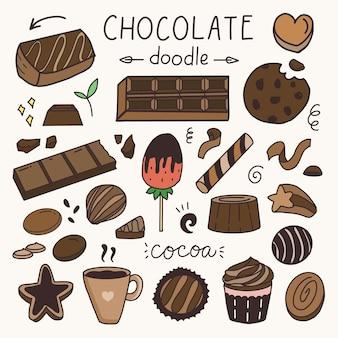 Chocoladetaart en snacks sticker tekening set cartoon doodle kunst illustratie